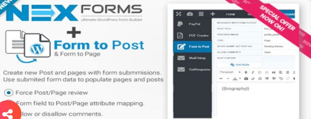 NEX Forms Form to Post Page plugin